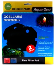 Aqua One Black Sponge Pad 2 per pack for Ocellaris 3000 / 3000UV - (141s)