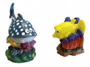 Mini Blue Whale & Yellow Box Fish - Aquarium Ornament (2 Pack)
