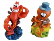 Mini Lobster And Violin Playing Octopus - Aquarium Ornament (2 Pack)